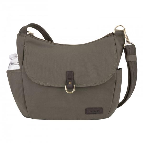 4193257ecd Travelon Anti-Theft Courier Hobo Bucket Crossbody Travel Bag Stone