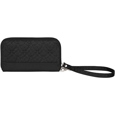 Travelon Signature Embroidered Phone Clutch Wallet Black