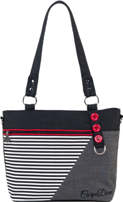 Jak's Blainville Tote Bag Striped Red and black