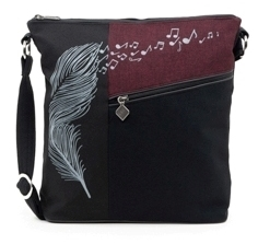 Jak's Cactus Crossbody Bag Feather Music Notes Burgundy
