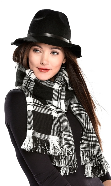 Scarf Reversible Plaid Black and White