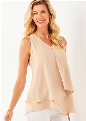 Sleeveless Layer Top Sand