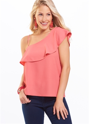 One Shoulder Ruffle Band Top Coral