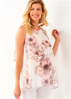 Sleeveless Layer Top Floral Top Blush Pink