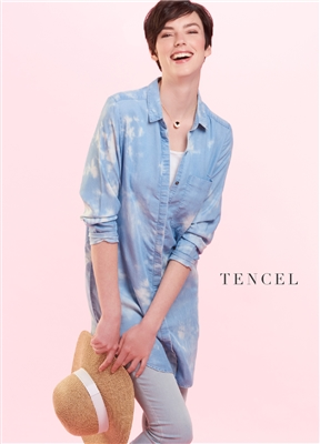 Lyocell Button Shirt Tunic Cloud Blue and White
