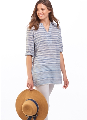Cotton Stripe Tunic Denim