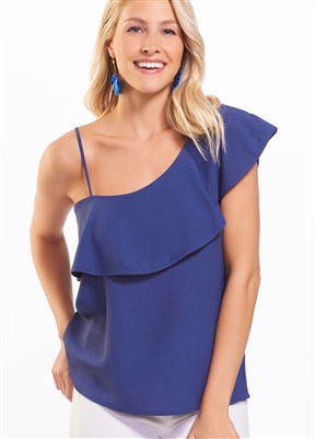 One Shoulder Ruffle Band Top Navy