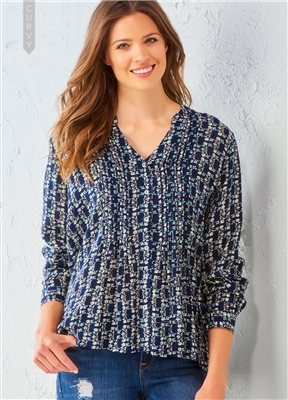 Rayon Pattern Blouse Plus Navy Floral