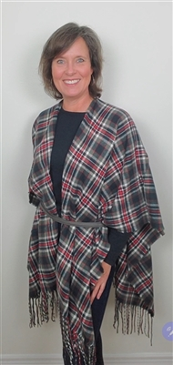 Plaid Fringe Cape Navy Red Charcoal White OS