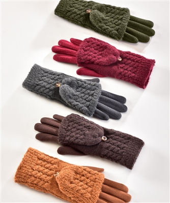 Touchscreen Knit Gloves with Fold Over Fingers Cable Knit Mitt