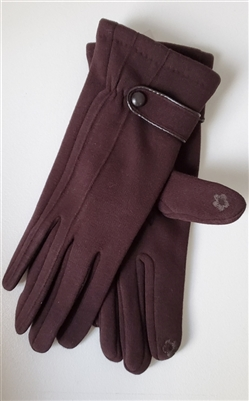 Touchscreen Knit Gloves with Button Detail