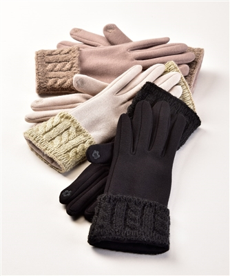 Touchscreen Knit Gloves with Cable Knit Cuff
