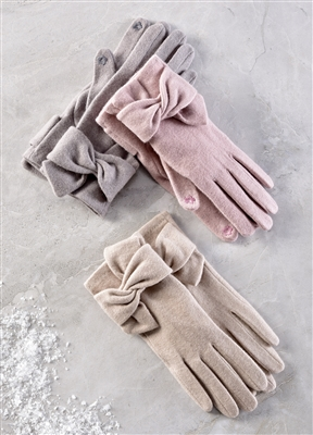 Touchscreen Bow Detail Gloves