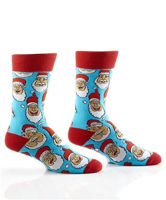 YoSox Socks Men's Crew Laughing Santa