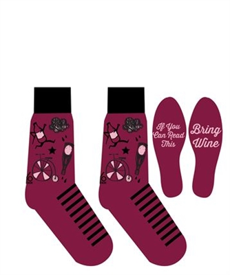 YoSox Socks Women's Crew Bring Wine