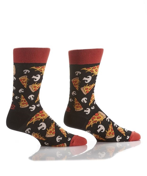 YoSox Socks Men's Crew Pizza with Mushrooms