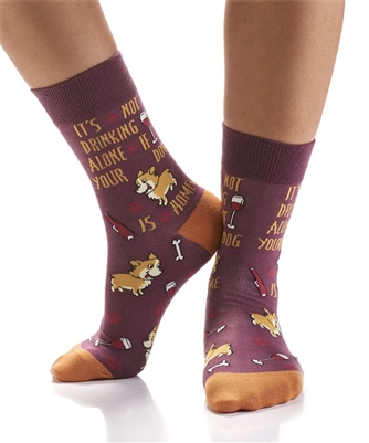 YoSox Socks Women's Crew Dog Drinking Buddy