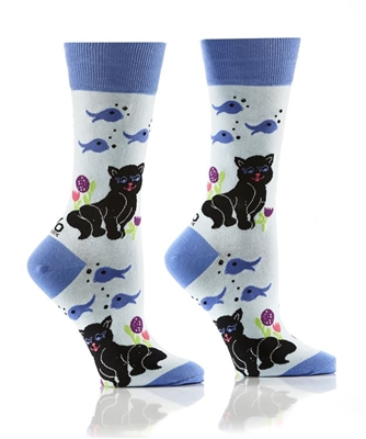 YoSox Socks Women's Crew Cat & Fish