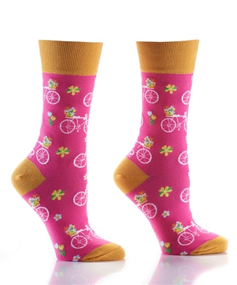 YoSox Women's Crew Socks Bicycle Flower Power