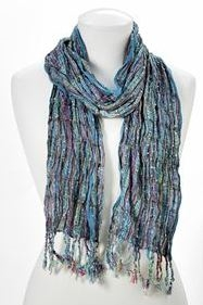 Scarf Scrunch Silver Thread Turquoise