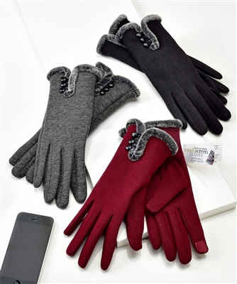 Touchscreen Knit Gloves with Button and Faux Fur Detail