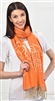 Scarf Sand Rose Floral Pattern Orange