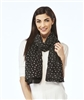 Scarf Metallic Silver Embossed Stars Black