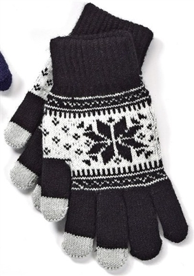 Touchscreen Knit Gloves with Snowflake Pattern Black