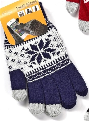 Touchscreen Knit Gloves with Snowflake Pattern Navy