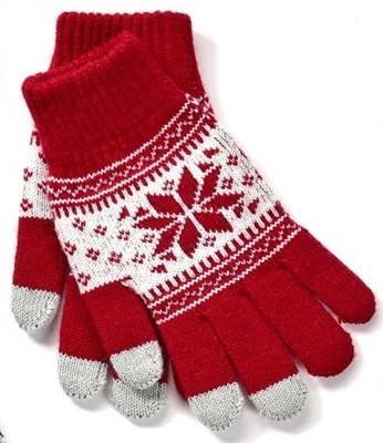 Touchscreen Knit Gloves with Snowflake Pattern Wine