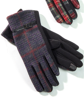Touchscreen Knit Gloves Plaid Navy Purple Wine