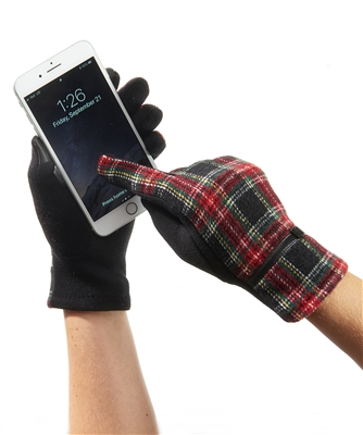 Touchscreen Knit Gloves Plaid Red Green Black