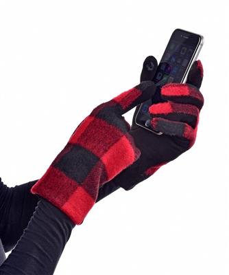 Touchscreen Knit Gloves Plaid Red Black