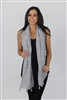 Plaid stitched scarf with tassels grey