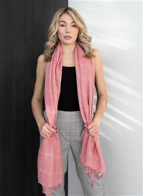 Plaid stitched scarf with tassels pink