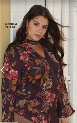 Floral V-Neck Blouse with choker detail plum/gold