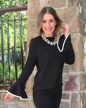 Black bell sleeve blouse with white piping