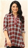 Plaid Zippered Tunic with Pockets Red S/M L/XL