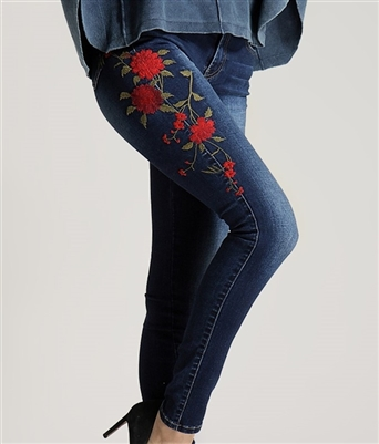 "Embroidered Red Rose Jeans 10"" rise"