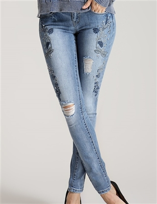 "Embroidered Floral Jeans 10"" rise"