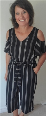 Striped Cold Shoulder Palazzo Jumpsuit Black & Taupe 7 9
