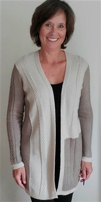 Open Front Patchwork Cable Knit Cardigan Sweater Latte