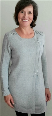 Double Faced Zippered Tunic Sweater Grey