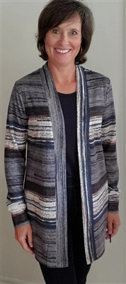 Mixed Open Front Cardigan Charcoal Navy Chocolate
