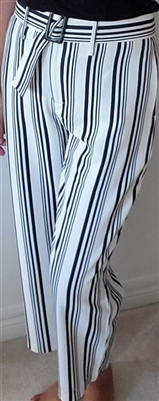 Wide Leg Striped Crop Pants with Belt Black and Ivory White