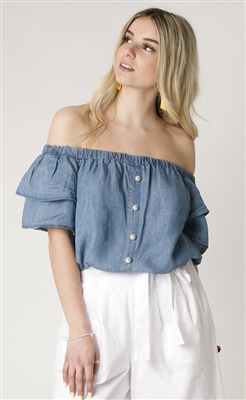 Bardot Blouse with Pearl Faux Button Front & 2 Tier Ruffle Sleeve Blue