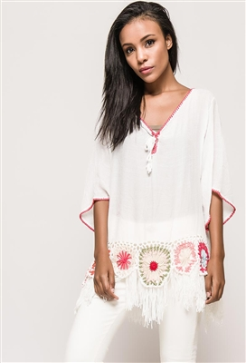 Lace Up Tunic Top Cross Hatch White
