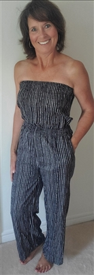 Pinstripe Strapless Wide Leg Jumpsuit  Black & White