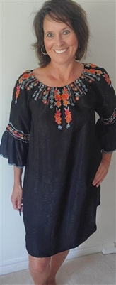 Dress On Off Shoulder with Scallop Embroidered Sleeves Black Sm M LG XL