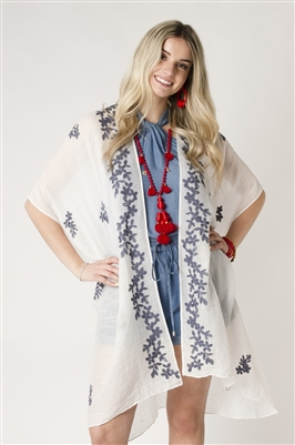 Embroidered Floral Open Front Kimono White & Blue